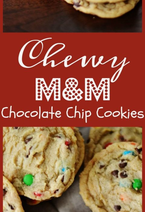 Chewy M&M Chocolate Chip Cookies by A Teaspoon of Home