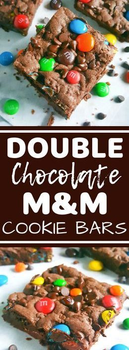 Double Chocolate Chip M&M's Cookie Bars