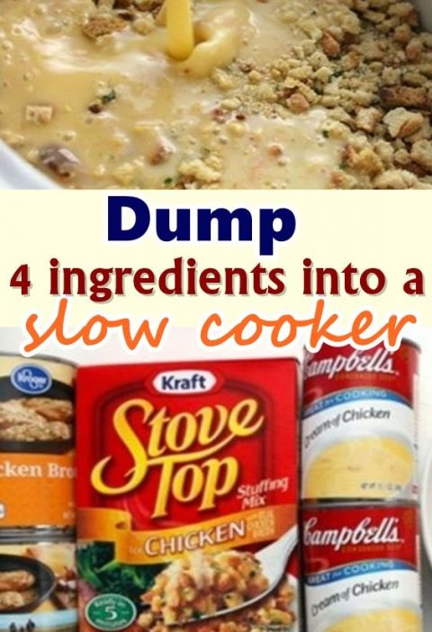 Dump 4 ingredients into a slow cooker. End result is a hearty, tasty chicken and stuffing