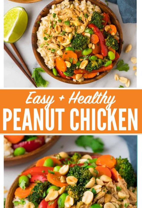 Easy Peanut Chicken Stir Fry with Veggies and Rice. A quick and healthy leftover...