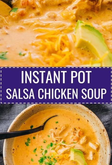 Enjoy comforting bowls of Instant Pot Salsa Chicken Soup with cream cheese! It's...