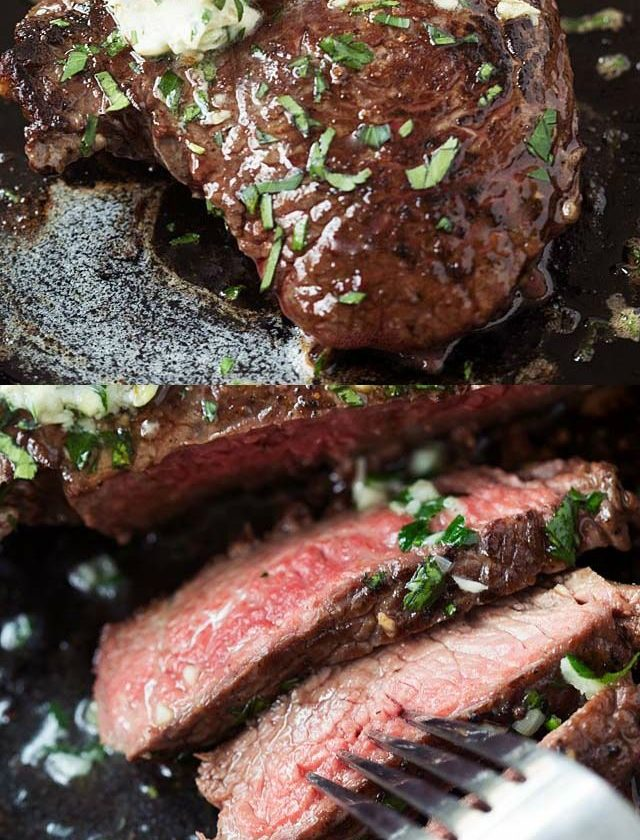 Garlic Butter Steak - juicy and tender steak cooked in a cast-iron skillet. Topp...