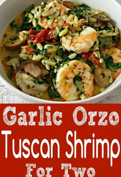Garlic Orzo Tuscan Shrimp for Two is coated in a light and creamy Parmesan chees...
