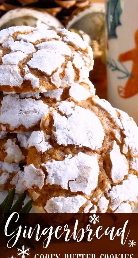 Gingerbread Gooey Butter Cookies ~ Pure Christmas deliciousness! Melt-in-your-mo...