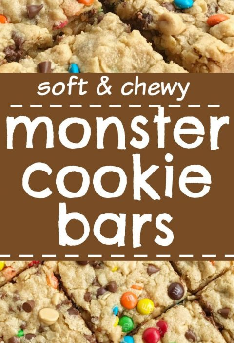 Monster Cookie Bars- A fun treat loaded with peanut butter, oats, chocolate chip...