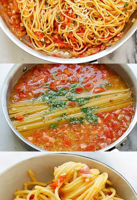 One-pan Pasta - the spaghetti gets cooked in the pan with all ingredients. So ea...