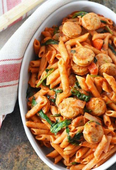 Penne With Spinach & Chicken Sausage