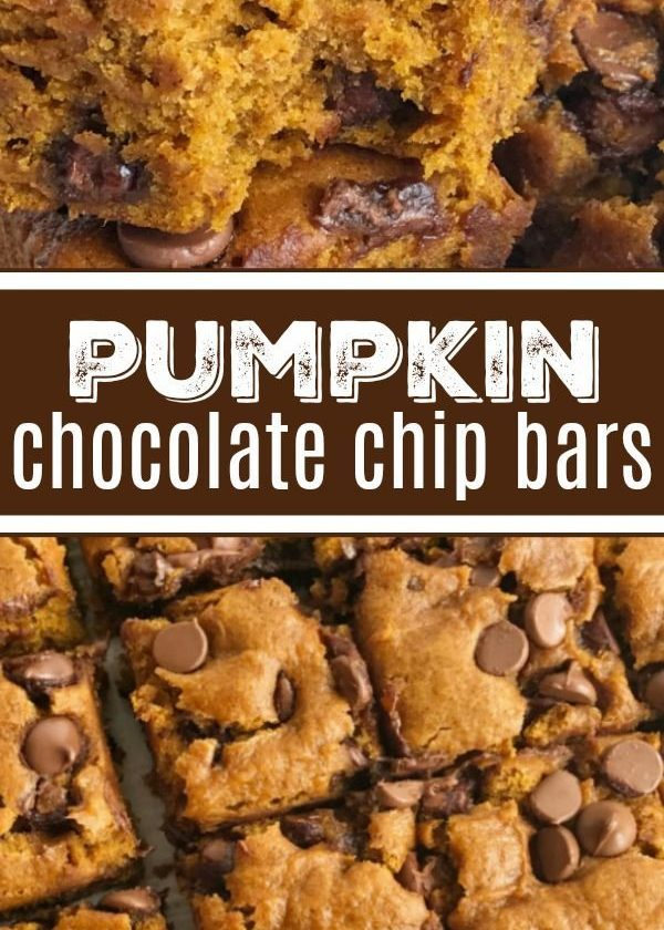Pumpkin Chocolate Chip Bars | Pumpkin Bars | Pumpkin Recipe | Pumpkin Dessert | ...