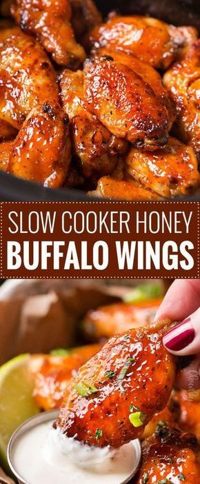 Slow Cooker Honey Buffalo Wings | Chicken wings are rubbed with spices, tossed i...