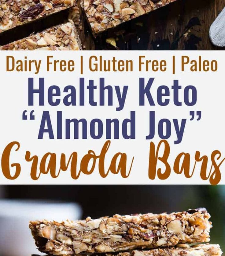 Sugar Free Keto Almond Joy Granola Bars - This low carb granola bars recipe is o...