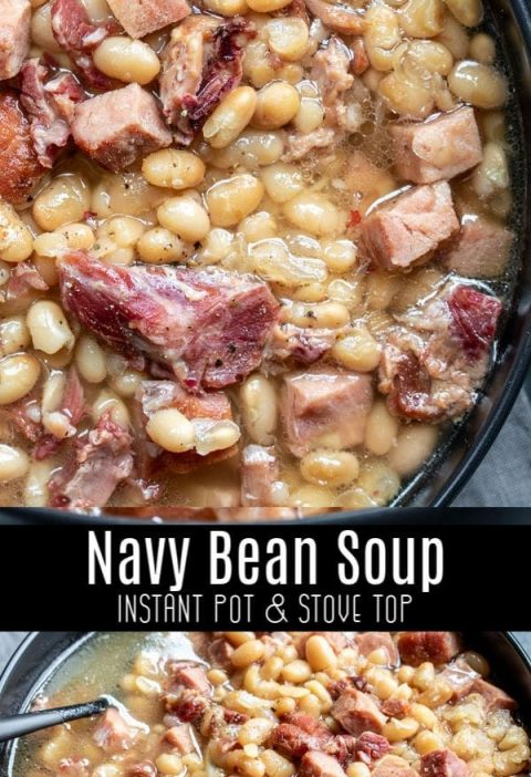 This easy Instant Pot Navy Bean Soup is an old fashioned recipe for a delicious ...