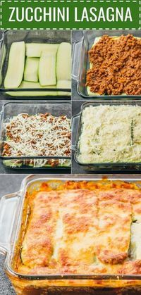 This easy zucchini lasagna is a great low carb and healthy alternative to your t...