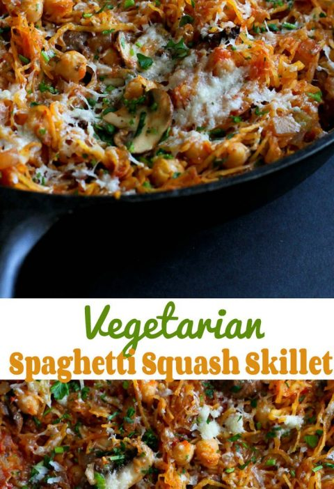 Vegetarian Spaghetti Squash Skillet…This satisfying meatless meal is filled wi...