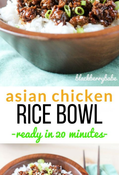 Asian Chicken Rice Bowl ready in 20 minutes! So easy, one of our weeknight favor...