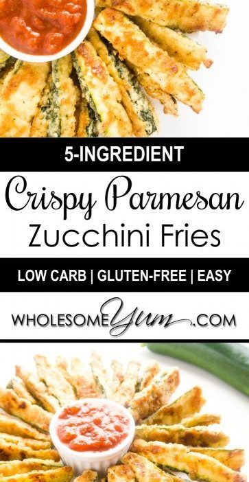 Crispy Parmesan Zucchini Fries (Low Carb, Gluten-free) | Wholesome Yum - Natural...