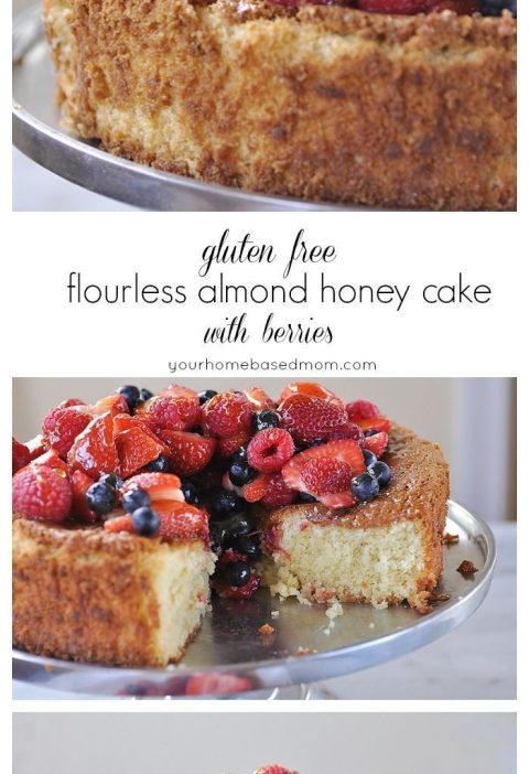 Gluten Free Flourless Almond Honey Cake with Berries