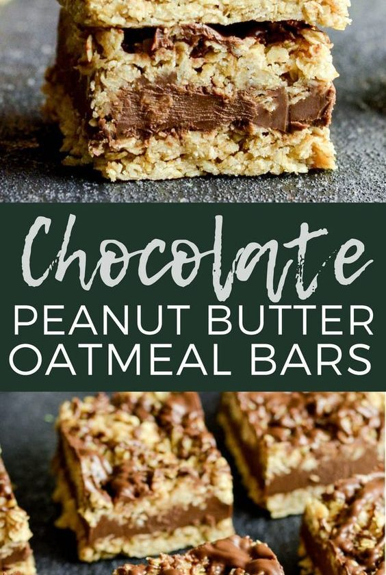 No-Bake Chocolate Peanut Butter Oat Bars! This delicious cookie recipe comes tog...