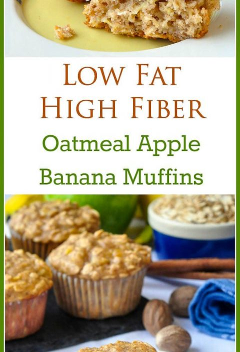 Oatmeal Apple Banana Low Fat Muffins. High in fiber too! A very easy to make rec...