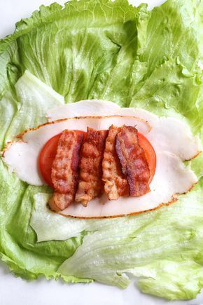 Chicken Club Lettuce Wrap Sandwich, a low-carb (keto) lunch idea that replaces a...