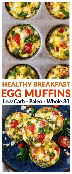 Healthy Breakfast Egg Muffins. Easy, low carb, and freezer friendly, these healt...
