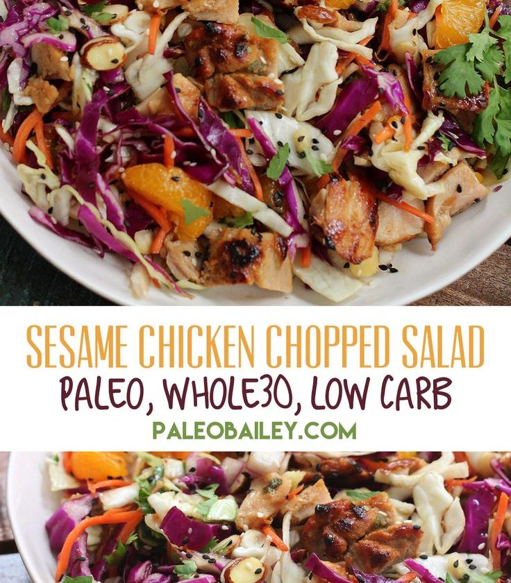 Healthy Sesame Chicken Chopped Salad is an easy paleo salad recipe, and an easy ...