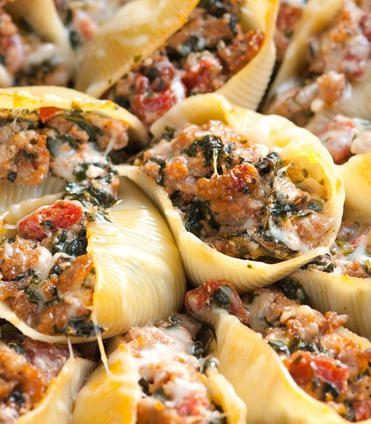 Sausage Stuffed Shells with Spinach