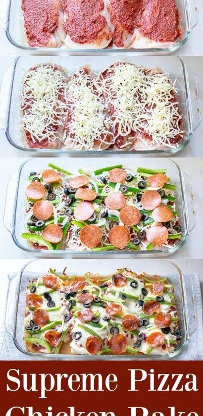 Supreme Pizza Chicken Bake Recipe Low Carb | The Schmidty Wife #lowcarbvegan