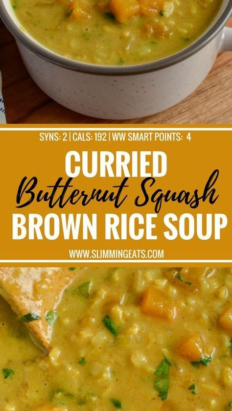 Curried Butternut Squash and Brown Rice Soup - a perfect recipe to warm yourself...