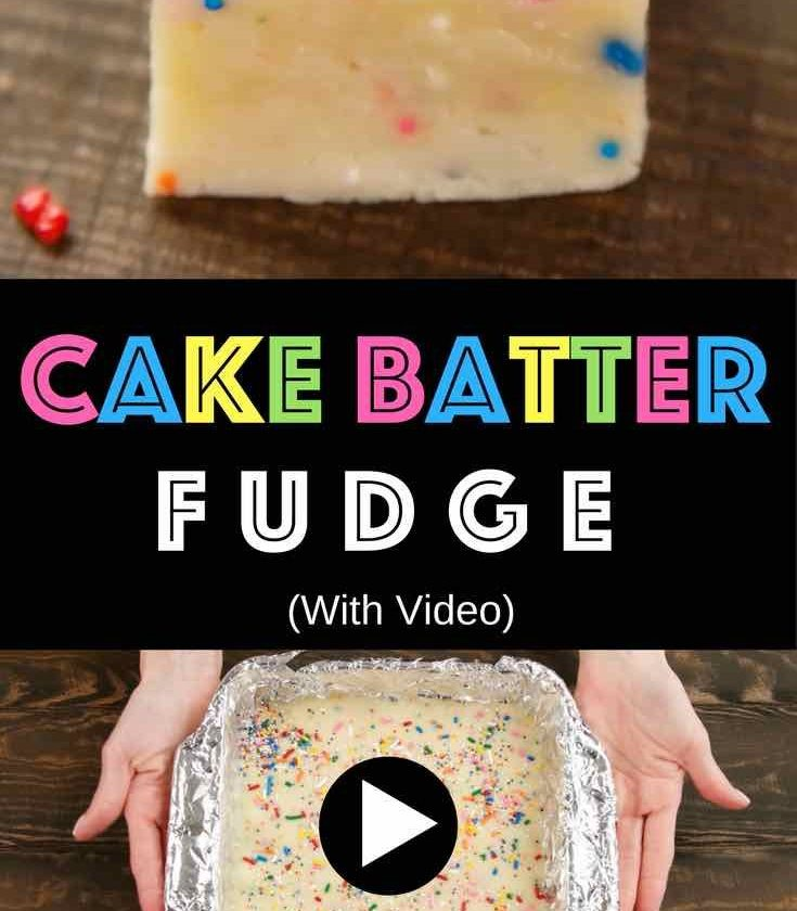 Easy Cake Batter Fudge - Creamy and chocolaty, sweet and soft, with colorful spr...