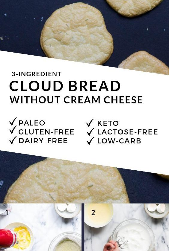 Easy Cloud Bread (NO Cream cheese, lactose-free, low-carb, Keto, Paleo)