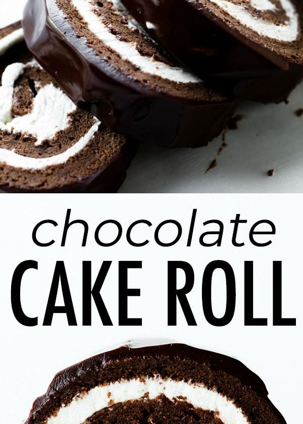 Fudgy, rich, and decadent homemade chocolate Swiss roll cake made with chocolate...