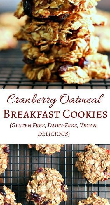 Healthy Cranberry Oatmeal Breakfast Cookies with no butter, oil, eggs, flour, or...