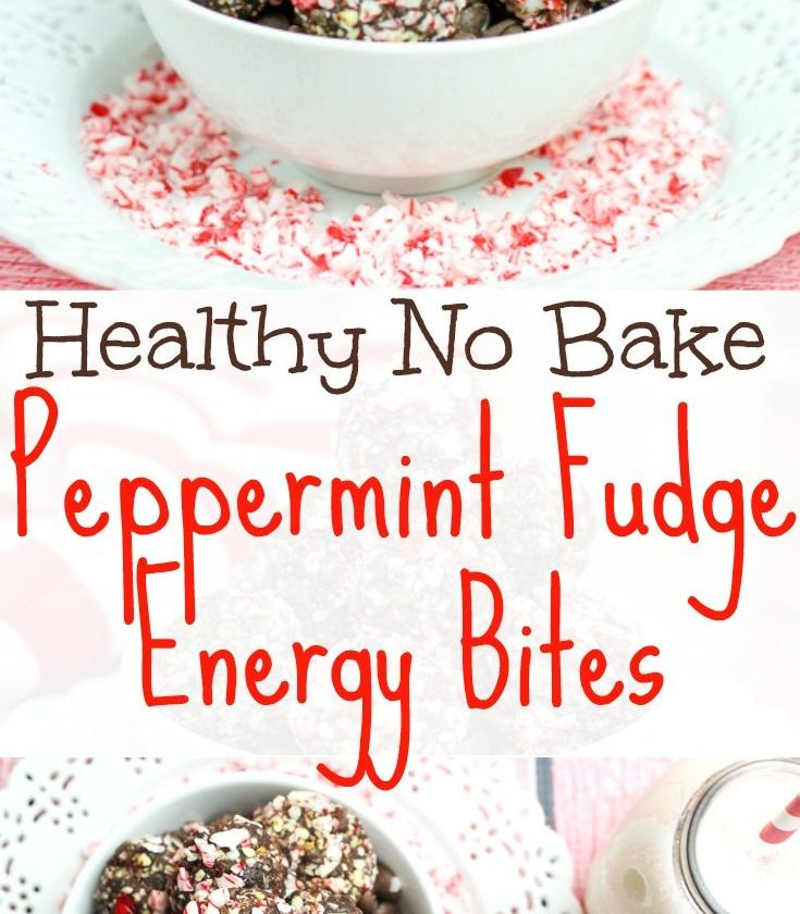 Healthy Peppermint Fudge No Bake Energy Bites recipe.  Easy, clean eating chocol...