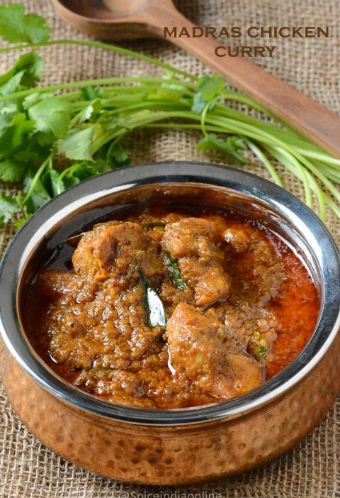 Madras Chicken Curry - Kozhi Kari Masala - South Indian Chicken Curry