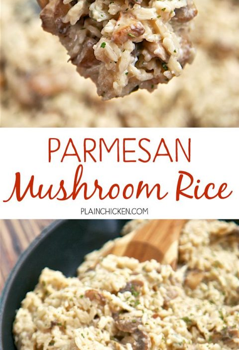 Parmesan Mushroom Rice - ready in 20 minutes! You'll never use the boxed stu...
