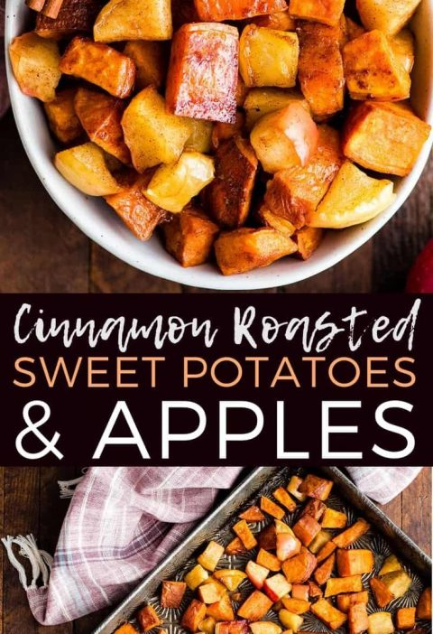 This Cinnamon Roasted Sweet Potatoes and Apples Recipe is a healthy and easy sid...