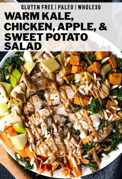 Warm Kale, Apple, and Sweet Potato Salad - Serve up this paleo kale recipe for a...