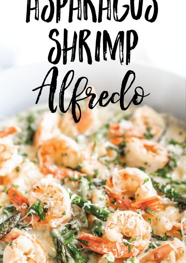 Keto Creamy Asparagus and Shrimp Alfredo