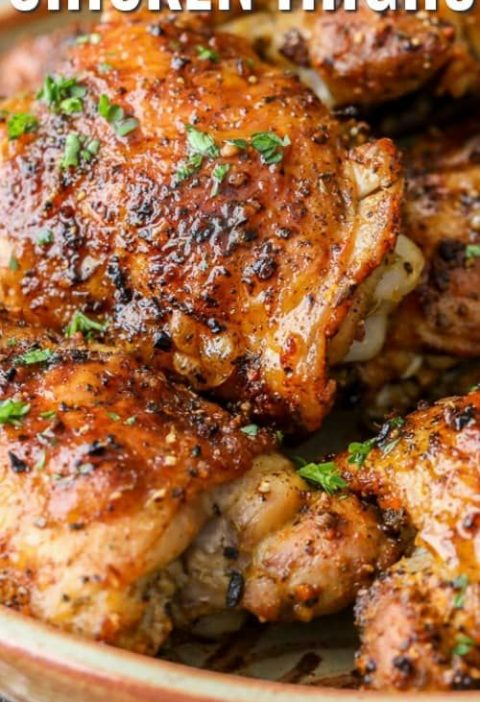 These oven baked chicken thighs are a delicious chicken dinner recipe that is bo...